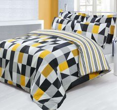 Funky Jazz Yellow Black Duvet Quilt Cover Bedding Set / Single / Double / King in Home, Furniture & DIY, Bedding, Bed Linens & Sets…