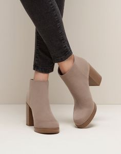 Pull&Bear - mujer - zapatos mujer - botín tacón cremallera - piedra - 15255011-I2015