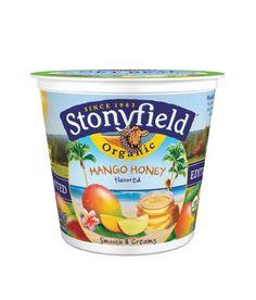 stonyfield organic mango honey yogurt. the best snack.