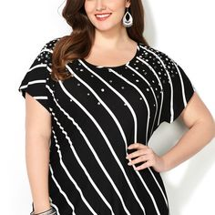 Diagonal Striped Embellished Top-Plus Size Top-Avenue