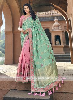 Online Shopping of Traditional Weaving Work Art Silk Sangeet Wear Designer Half N Half Saree In Pink from SareesBazaar, leading online ethnic clothing store offering latest collection of sarees, salwar suits, lehengas & kurtis Green Silk, Pink Silk, Half And Half, Traditional Silk Saree, Blue Saree, Designer Sarees Online, Looks Chic, Beautiful Saree, Stunningly Beautiful