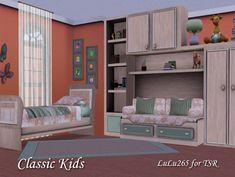 Classic Kids Bedroom Lulu265 3 Kids Bedroom, Bedroom Desk, Bedroom Stuff, Sims 4, Bunk Beds, Little Girls, Bookcase, Cushions, Sofa