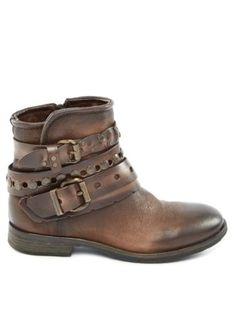 YKX-CO-Brown-Leather-Buckle-Ankle-Biker-Boots-Size-US-8-5-EU-40-450-Italy