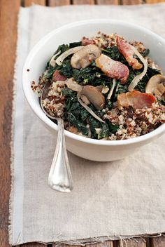 Sauteed Kale and Quinoa Salad with Bacon, Mushrooms, and Onions   yummmmm.