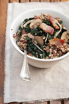 Sauteed Kale and Quinoa Salad with Bacon, Mushrooms, and Onions   yummmmm.