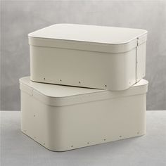 Bigso® Ivory Rectangular Storage Boxes Set of Two  | Crate and Barrel