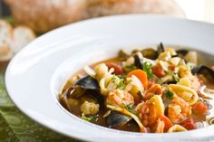 Bouillabaisse with shrimp, mussels, oysters, scallops, and squid