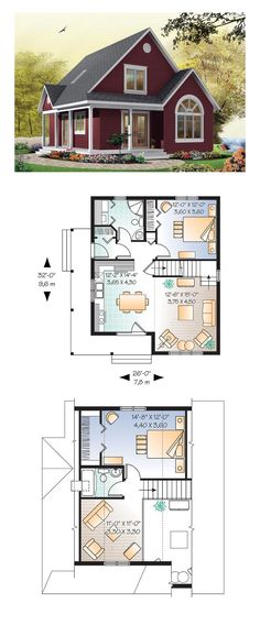 Cottage style cool house plan id chp 28554 total living area 1226 sq ft 2 bedrooms and 2 bathrooms cottageplan Sims House Plans, Best House Plans, Small House Plans, Tiny Home Floor Plans, Cottage Floor Plans, House Plan Two Story, Small Cottage House Plans, Loft Floor Plans, Kitchen Floor Plans