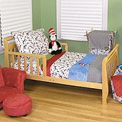 Dr Seuss Cat in the Hat Modern Neutral Red Blue and Green 4 Piece Toddler Bedding Set
