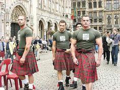 Muscle in a kilt! I'll take the one in the middle, please. Scottish Man, Scottish Dress, Highland Games, Men In Kilts, Kilt Men, Vogue, Raining Men, Legging, Tartan Plaid
