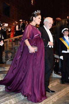 Crown Princess Victoria of Sweden and Nobel Prize in Physics Professor Emeritus Arthur B McDonald arrive at the Nobel Prize Banquet 2015 at City Hall...