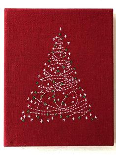 Sashiko Christmas tree - Drawing Still 2020 Christmas Tree Kit, Christmas Sewing, Christmas Embroidery, Christmas Projects, Christmas Patterns, Crochet Christmas, Christmas Angels, Japanese Quilts, Japanese Textiles