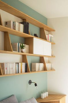 Built-in shelving. Diy Built In Shelves, Home Office Shelves, Blue Shelves, Shelves In Bedroom, Office Den, Bedroom Desk, Diy Bedroom, Wall Shelves, Home Office Furniture