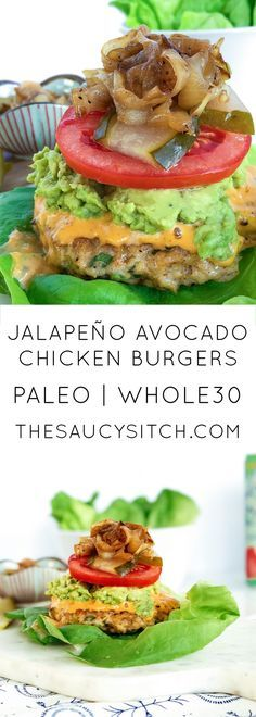 This is def my kinda burger! Juicy and delicious & Paleo Jalapeño Avocado Chicken Burgers Paleo Recipes, Real Food Recipes, Cooking Recipes, Paleo Meals, Paleo Food, Healthy Food, Paleo Whole 30, Whole 30 Recipes, Whole 30 Chicken Recipes