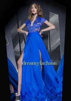 Free Shipping 2014 Robe de soiree V neck  Royal Blue Chiffon Formal Evening Dresses Side Split Sheer Prom Dresses with Sleeves $155.00