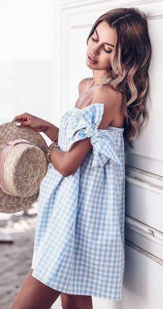 hat + plaid off shoulder dress