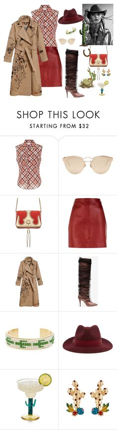 """No country for old men"" by juliabachmann ❤ liked on Polyvore featuring Miu Miu, Christian Dior, The Volon, Sandro, Burberry, Off-White, Madewell and country"