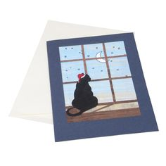 Holiday Cat Card from Ten Thousand Villages  #cat #cats #stationary #gift #present #catloversshopindie #handmade #originalart #holiday #card #christmas #blackcat