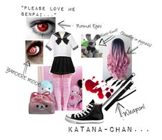 """CP-OC Katana-Chan"" by jdtrocker ❤ liked on Polyvore featuring Nico, Converse, rp, OC and creepypasta"