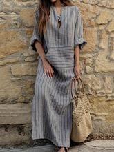 Plus Size Casual Stripes Pockets Dress