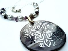 Purple Shell Medallion Necklace With Pearls and Amethyst Stone Chips $30