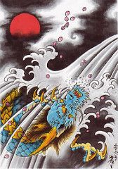 (SAMON TATTOO) Tags: japan illustration japanese dragon salmon osaka kansai  irezumi samon httpwwwmyspacecomsamonta2
