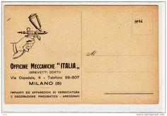 """PUBBLICITA' ADVERTISING MILANO OFFICINE MECCANICHE ITALIA AREOGRAFI """"ITALIA""""BREVETTI CORTI"""