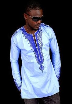 African Clothing:Blue Embroidered Native Design For Men - Debonke House Of Fashion African Shirts, African Print Dresses, African Dress, African Men Fashion, Africa Fashion, Mens Fashion, African Attire, African Wear, African Style
