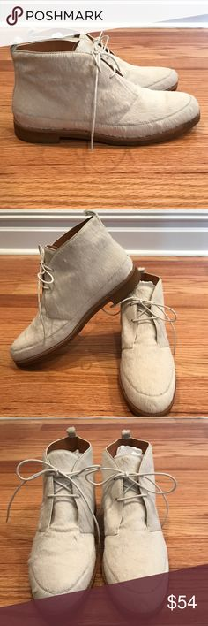 Marc Jacobs Pony Hair Desert Boot Very cool NWOB Marc by Marc Jacobs off white pony hair lace up desert boot Never worn although shows some signs of wear - some irregularities in the pony hair which can be brushed down but very slight melting on sole and side of one shoe - must have put these near a heating pipe near the back of my closet.  Only visible from the side of one shoe as the soles will show wear eventually - please refer to photos Size 39 Easy to pair with a casual outfit of jeans…