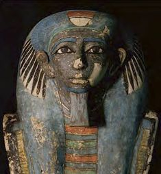 The blue mummy mask of Senu, a government official who was active 3,800 years ago. The mask was discovered by an excavation team of the Waseda University Institute of Egyptology at a site north of Dashur in 2005. The institute has had many successful results during the last 40 years. This mummy of Senu is the oldest case of excavation in complete form, before any illegal digging had taken place, and is an extremely valuable find.