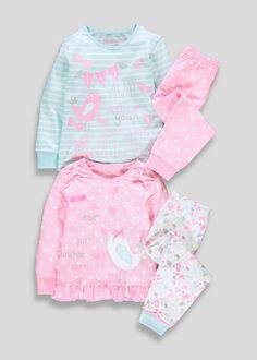 Girls 2 Pack Long Sleeve Pyjamas (9mths-5yrs) - Matalan