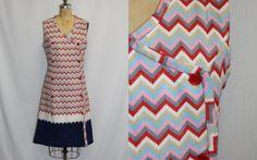 Large Vintage Dress Zig Zag Design Sleeveless by SIZEisJUSTaNUMBER