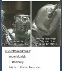 A Cyberman describes the entire plot of Doctor Who.