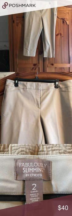 """Chicos """" fabulously slimming"""" Capris Khaki slimming capris new never worn. Too big for me   Just bought a month ago. Chico's Pants Capris"""