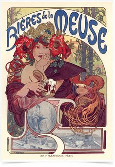 Poster The Belle Epoque Bieres Meuse impresso com tecnologia HighHD de alta definição em papel semi-glossy especial com gramatura 250g no tamanho A3 (42x29cm) com cores vibrantes.