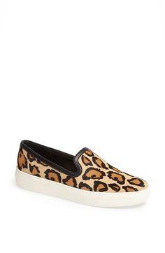 leopard print slide ons