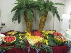 Fruit Displays For Parties | Luau Party Pineapple Palm Tree Tropical Fruit Display Online Video ...