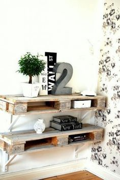 10 Ways to Upcycle Wooden Pallets by Jen Stanbrook Palet shelves. Nice way to hide a router The post 10 Ways to Upcycle Wooden Pallets by Jen Stanbrook appeared first on Pallet Ideas. Oak Furniture Land, Pallet Furniture, Home Furniture, Furniture Ideas, Furniture Stores, Cheap Furniture, Garden Furniture, Wooden Pallet Projects, Pallet Ideas