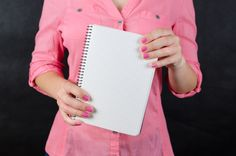 Free Woman In Pink Shirt Holding Grid Notebook In Her Hand Photo Jobs Without A Degree, Grid Notebook, Interview Questions And Answers, Best Teeth Whitening, Loans For Bad Credit, New Laptops, Home Based Business, Business Ideas, Public Speaking