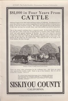 1912 Siskiyou County California Ad: Justly Famous for Her Horses Cattle Ranching #SiskiyouCountyCalifornia