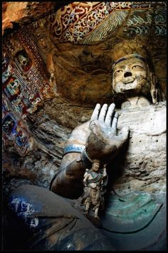 Yungang Grottoes, Datong, Shanxi, China (UNESCO World Heritage Site) - visiting this! Peking, Sculptures, Lion Sculpture, Buddhist Art, Chinese Buddhism, China Travel, China Trip, Places Around The World, World Heritage Sites