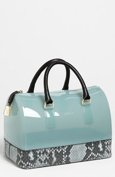 Furla 'Candy - Snake' Rubber Satchel. I love Furla, and I'm totally enchanted by these translucent rubber purses.