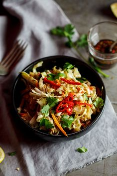 Asian chicken cabbage salad (use coconut aminos in place of the soy sauce)