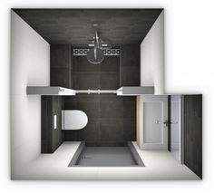 Ontwerp van een kleine badkamer. Meer kleine badkamer ontwerpen op http://www.kleinebadkamers.nl