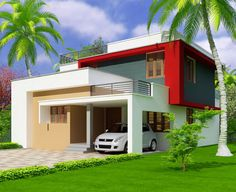 front elevation of indian house site using door mats for entrance and paint my house joke for jenish modern house plans - Best Home Interior Design Small House Design, Modern House Design, Modern House Plans, House Floor Plans, One Bedroom House, Canada House, Best Home Interior Design, Indian Homes, House Elevation