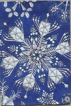 Snowflake by Birgit Ruotsala.  Art Quilts Around The World challenge.  Whole cloth quilt using ink pens and thread painting.
