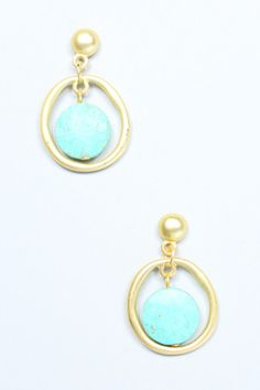 Turquoise Circle Earrings | uoionline.com: Women's Clothing Boutique