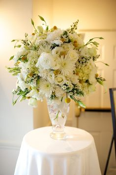 MAINE Weddings ~ planning & design ~ the perfect destination » Blog Archive » White Tall Arrangement With Yellow Pops of Color
