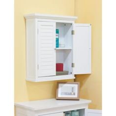 elegant home fashions simon 20 in w x 24 in h x 7 in d bathroom storage wall cabinet with 2 shutter doors in white