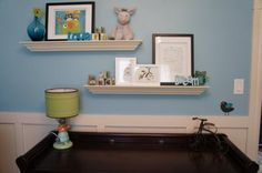 The wall shelves were purchased from Winners: The inspiration pieces for Sebastian's owl nursery was Robert Kaufman owl fabric and a collection of baby blocks that I had bought online. I actually purchased